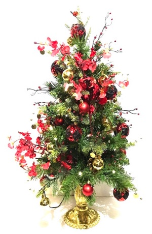 24 inch artificial table top Christmas tree, fully decorated, red, black and gold theme colors, LED battery lights