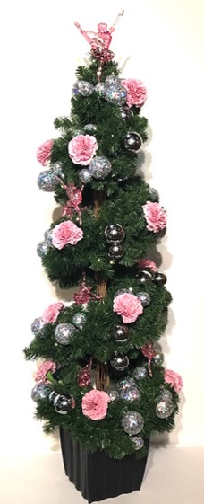 Artificial 5ft spiral Christmas tree, fully decorated, pink color theme, silver accents,  LED battery lights