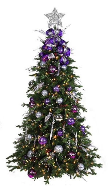 6ft artificial tree, fully decorated, purple and silver colors, LED lights, star topper, easy assembly