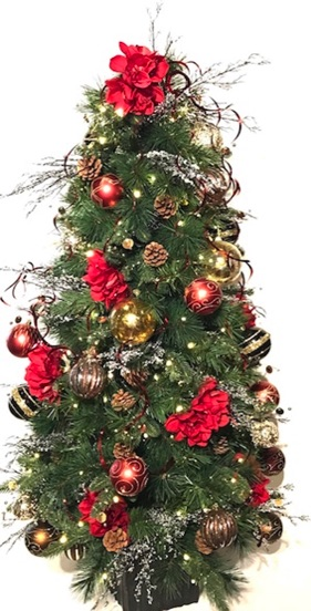 4ft artificial Christmas tree, fully decorated, red and gold themed colors, beautiful accents, LED lights