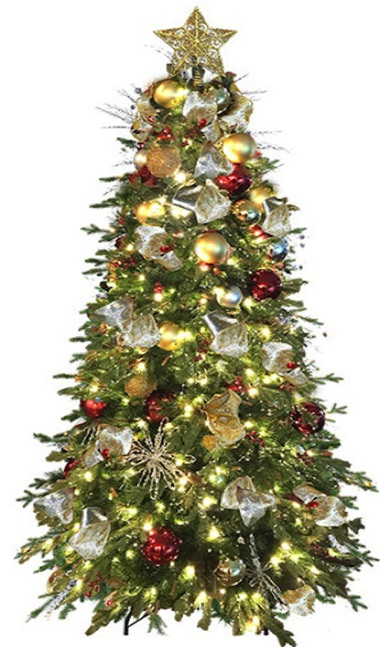 6ft artificial tree, fully decorated, red and gold colors, LED lights, star topper, easy assembly