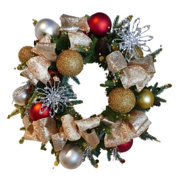 artificial 24 inch wreath, fully decorated, red and green color, gold, red and silver color theme