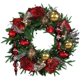 artificial christmas wreath, 24 inches wreath, fully decorated, red, gold, red ribbons, traditional colors, ries, pine cones-glossy ornaments, matt ornaments, easy assembly, red and gold theme